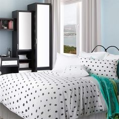 Printed Duvet Cover set, bed duvet cover, bedding duvet cover, duvet cover sets, Generation Sleep, GenS, College, Bedding, dorm, student, university, uni,  white, black, teal, dots, polka dots