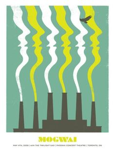 Rhythm: This poster shows rhythm as there is a repetition and alternation of the white and green smoke coming out from the chimney.
