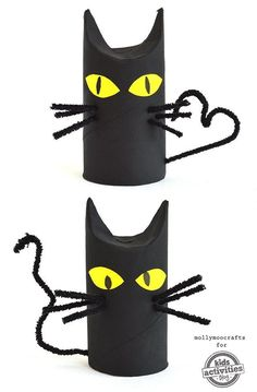 Das können auch schon kleine Kinder: Halloween basteln - Katzen aus Klopapierrollen. ***Cats, bats and spiders are the absolute go-to crafts every Halloween - and these Toilet Roll Cats are just so simple and so fun you just have to make with your kids, at home and at school.