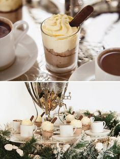 """Narnia and Winter Wonderland Party by The Little Big Company– Hot cocoa bar on snowy tree ferns dotted with """"meringue snow"""""""