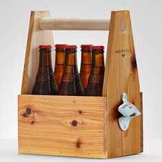 Whether it's mixing and matching bottles at a local grocery store or toting some home brews, grabbing a six pack just got an upgrade with this classy wooden caddy. Made by hand in Western Montana from western red cedar, comes complete with a side mounted bottle opener to get any party started. made from western red cedar with metal bottle opener this item is no longer personalized made in USA