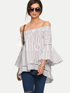 Shop Multicolor Striped Off The Shoulder Bell Sleeve Blouse online. SheIn offers Multicolor Striped Off The Shoulder Bell Sleeve Blouse & more to fit your fashionable needs. Shirts & Tops, Shirt Blouses, Bell Sleeve Blouse, Bell Sleeves, Casual Outfits, Fashion Outfits, Womens Fashion, Fashion Shirts, Fast Fashion