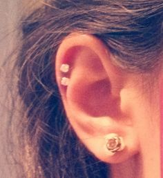 double cartilage piercing for the opposite ear of my industrial