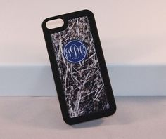"""From our """"Real Camo"""" line this is our monogrammed iphone insert for the 4, 4s, 5 and 5s with a """"Real Camo"""" print where you can see blue sky peaking through."""