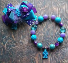 Monsters University nspired Necklace and matching OTT bow