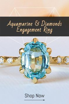 This is a vintage inspired gemstone engagement ring, a stunning Aquamarine wedding ring, set with a central Aquamarine and Diamonds, the perfect bohemian engagement ring. Our handmade aquamarine and diamond engagement ring is inspired by the luxurious British Era and will transport you back in time.The rings delightful and sleek design fits into the modern world perfectly and allows modern romantics to put a vintage and classic touch on their love story. Boho Engagement Ring, Gemstone Engagement Rings, Perfect Engagement Ring, Vintage Engagement Rings, Unique Wedding Bands, Wedding Ring Bands, Boho Wedding, Wedding Ideas, Bridal Ring Sets
