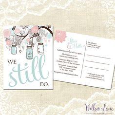 Vow Renewal Postcard - We Still Do -  Blush Pink Mason Jar Vow Renewal Invitation - Blue Mason Jar Vow Renewal Invite -5009-PRINTABLE on Etsy, $18.00