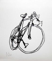 Old Style Track Bike Line Drawings 3 Bicycle Paintings Prints