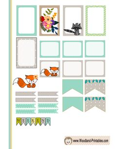 Free Printable Woodland Animals Stickers for Happy Planner 1
