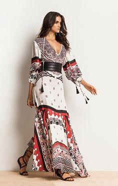 Vestido Longo Estampado Tassel Preto/Vermelho/Branco 2016