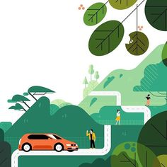 Showing the impact of uberPool on the environment and experimenting with foliage. #illustration #dreamjob #uberpool