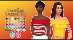 I changed up the palette a bit! Stripped out a couple colours that seemed too similar, jazzed up some others, and added a few new ones to help round out the selection. Maxis, Sims 4 Mm Cc, My Sims, Sims 4 Mods, Sims 4 Clothing, Female Clothing, Cc Fashion, Sims 4 Studio, Sims 4 Game