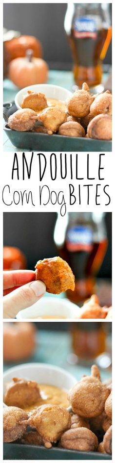 Step up your corn dog game with Andouille sausage instead of regular hot dogs.  Throw some Old Bay seasoning into the batter and you have a Cajun treat!  Dip them in Sriracha Mustard for a complete Game Day snack! Andouille Corn Dog Bites | Take Two Tapas