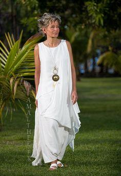 White mixed silk bridal asymmetrical drape tunic