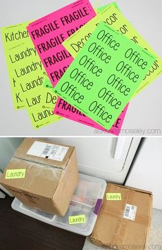 33+ Helpful Moving Tips Everyone Should Know ~ Plan ahead and print out brightly colored labels instead of writing on every box! Moving House Tips, Moving Home, Moving Day, Moving Tips, Moving Hacks, Office Moving, Tips And Tricks, Packing To Move, Packing Tips