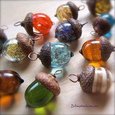 Glass Autumn Acorn Earrings - Transparent Teal by Bullseyebeads. $22.00, via Etsy.
