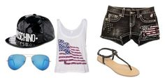 """""""casual walk around the city"""" by jdrummo on Polyvore featuring Miss Me, Ray-Ban, Moschino and Arizona"""