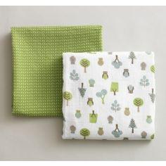 DwellStudio Baby Owls Multi Swaddle Blanket - Set of Two at DesignPublic.com