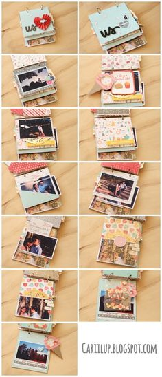 I really like the envelope for more photos! This DIY Photo Album is a wonderful gift for moms! Mini Album Scrapbook, Ideas Scrapbook, Scrapbooking Ideas, Diy Birthday, Birthday Cards, Foto Gift, Decoration Creche, Diy Gifts, Handmade Gifts