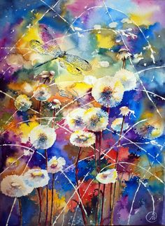 Dandelion wine - bright watercolor, dragonfly, light    Anna Sokolova