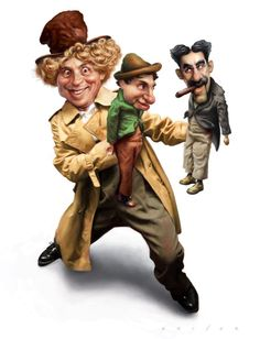 Marx Brothers - Chico, Grocho and Harpo Funny Caricatures, Celebrity Caricatures, Celebrity Drawings, Caricature Artist, Caricature Drawing, Famous Stars, Best Face Products, Man Humor, We The People