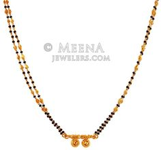22K Long Mangalsutra - chms18097 - US$ 938 - 22K Gold Mangalsutra designed with a double layer of gold beads and black holy beads teemed together