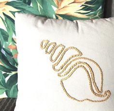 Crochet+scallop+seashell | Coastal decor seashell pillow of raffia for your by coastalseasons
