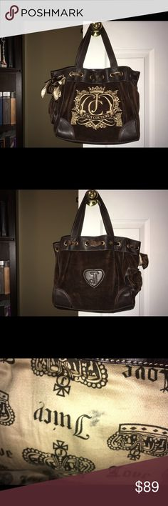 Juicy Couture Brown Velour Daydreamer Handbag Juicy Couture Brown Velour Daydreamer Handbag  This gorgeous bag is in great condition except for some pencil marks on lining.   Magnetic closure Two interior organizer pockets One interior zipper pocket One small exterior pocket  Measurements:  Handle drop- 8.5 inches Length- 12 inches Height- 10.5 inches  Width- 5 inches Juicy Couture Bags Shoulder Bags