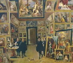 David Teniers - The Archduke Leopold Wilhelm in his Picture Gallery in Brussels, 1651 at Prado Museum Madrid Spain