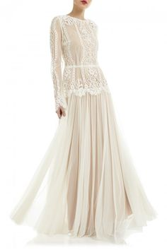 Katya Katya Shehurina Liliana Long Sleeve Ivory Lace Boho Wedding Dress with Contrast Tulle Skirt