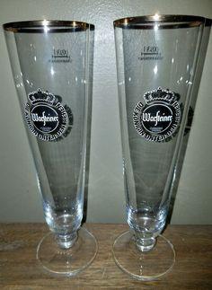 TWO Warsteiner German Pilsner Tulip/Beer Glasses - Footed Gold Rim  .4L