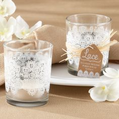 """""""Lace"""" Glass Tealight Holder 