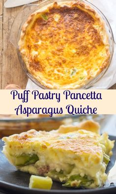 This Puff Pastry Pancetta Asparagus Quiche is filled with chopped pancetta or bacon, asparagus and Swiss Cheese. One of the best quiche combinations you will ever taste. The perfect breakfast, lunch or dinner recipe idea! Asparagus Quiche, Vegetable Quiche, Asparagus Recipe, Asparagus Ideas, Quiche Recipes, Brunch Recipes, Breakfast Recipes, Dinner Recipes, Breakfast Quiche