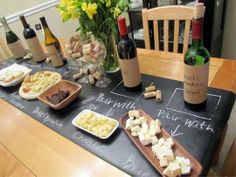 cute wine pairing party idea DIY Chalkboard Table Runner for Effortless Dinner Parties Jackie Fogartie Events Wine And Cheese Party, Wine Tasting Party, Wine Parties, Wine Cheese, Cheese Food, Wine Party Appetizers, Tasting Table, Gin Tasting, Parties Food