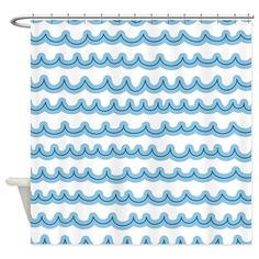 Whimsical style blue waves depicting the waves of the ocean or sea, a fun design that matches our nautical home decor items for mix and match! Custom Shower Curtains, Bathroom Shower Curtains, Fabric Shower Curtains, Bathroom Kids, Kids Bath, Wooden Wheel, Shower Rod, Whimsical Fashion