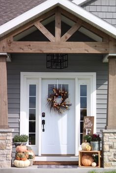 Our Fall Front Porch Fall Front Porch - Stained Wood Gable and Pillars - Craftsman Porch - Farmhouse Exterior - Fall Porch Decor - Small Front Porch Design Craftsman Porch, Farmhouse Front Porches, Small Front Porches, Front Porch Design, Modern Farmhouse Exterior, Porch Designs, Farmhouse Decor, Front Porch Addition, Modern Porch