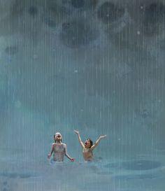 Sommerregn av Lisa Aisato Summer Rain by Lisa Aisato Rain Illustration, Rain Art, Open Water Swimming, Summer Rain, Dancing In The Rain, Rain Dance, Cute Wallpaper Backgrounds, To Infinity And Beyond, Art And Architecture