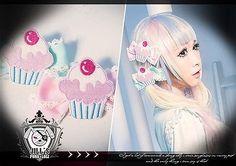 lolita fairy spank cartoon fantasy cherry mousse muffin ribbon bow hair clips