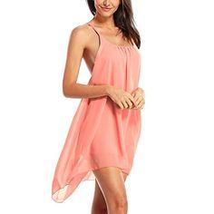Hoofun Damen Sexy Chiffon Mini Kleid Rueckfrei Ball-Abendkleid Cocktailkleid Strandkleid Sommerkleid