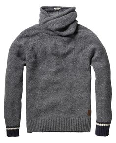 Naps yarn pull with twisted hood and contrasting cuffs - Pulls - Scotch & Soda Online Shop Mens Fashion Sweaters, Mens Fashion Shoes, Men Sweater, Fashion Outfits, Men's Fashion, Guy Outfits, Big Boy Clothes, Clothes For Women, Men's Wardrobe