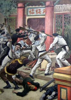 Melee combat between the Chinese boxer rebels and the French marines during the Boxers Rebellion, China