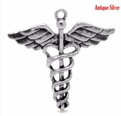 20 Pc Antique Silver Caduceus Symbol Of Medicine Cross Charm Pendants 4x4cm #Affiliate