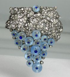 Trifari Art Deco Pave Sapphire Blue Moonstone Shoe Button Grape Cluster Fur Clip | eBay