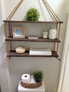 24 DIY Bathroom Wall Shelves Design And Organization Ideas - DEXORATE Currently floating wall shelves are interesting in the world of interior design. This type of wall shelves can be placed in various rooms in your residence, such as in … Bathroom Wall Shelves, Floating Wall Shelves, Wall Shelves Design, Diy Wall Shelves, Rope Shelves, Diy Bathroom Decor, Diy Wall Decor, Diy Home Decor, Glass Shelves