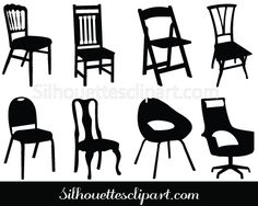 Chair Silhouette Clip Art Pack Download Chair Vectors