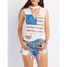Charlotte Russe American Flag Choker Neck Tank Top ($15) ❤ liked on Polyvore featuring tops, white, sexy white tops, white sleeveless tank top, sleeveless tank, white tank tops and american flag tank