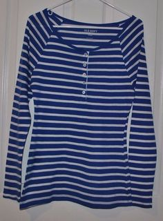 Old Navy Women's Blue White Long Sleeve Striped Shirt Size Medium  #OldNavy #KnitTop #Casual