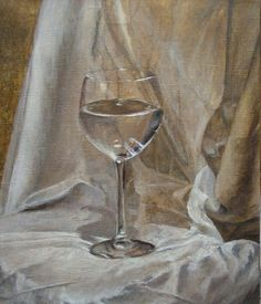 still life, glass, cloth, wine, oil painting