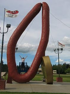 """""""World's Largest Kielbasa Sausage"""" -- Mundare, Alberta.  Don't go out of your way for this one, folks."""