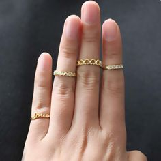 #4Pcs Fashion Golden Stack #Crystal Heart Love Above Knuckle Band Midi Ring Set
